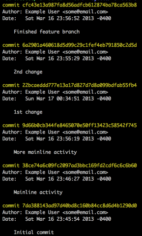 Feature branch commits on top