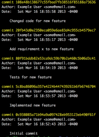 A messy commit history