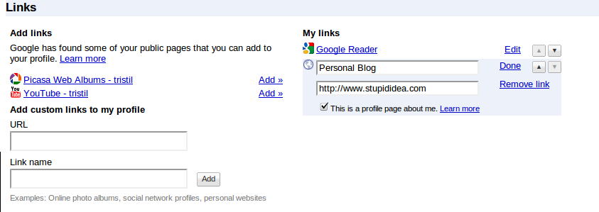 Add Link to Google Profile